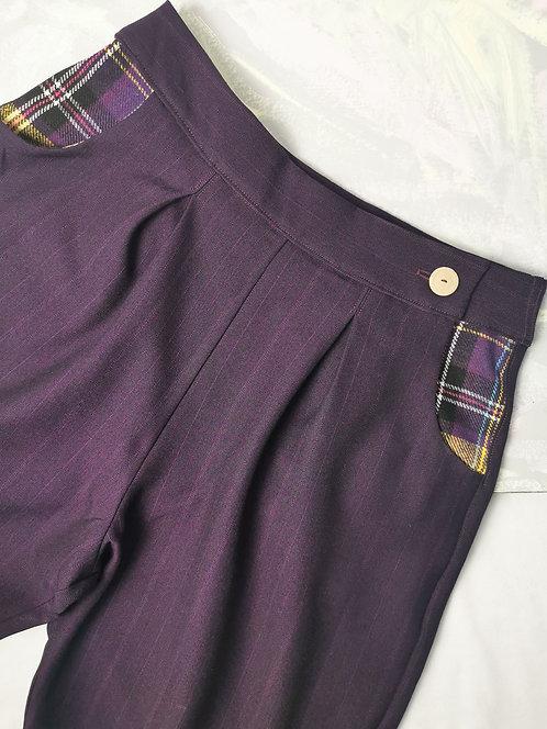 Purple Pinstripe Peg Leg Trousers - Size 12