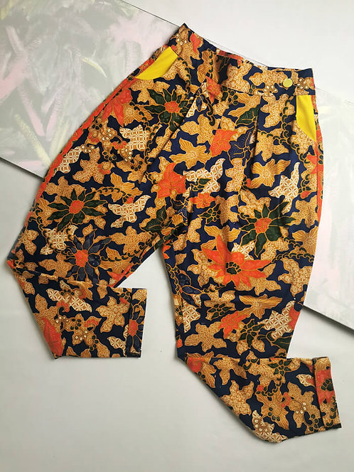 Orange and Navy Peg Leg Trousers - Size 6