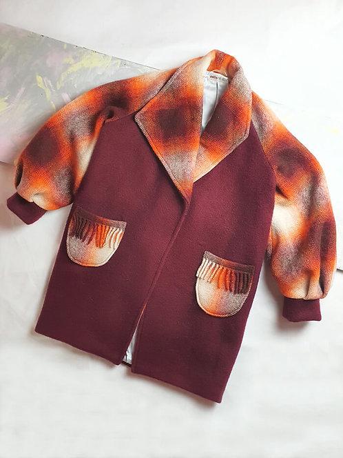 Burgundy Check Coat - Size S/M
