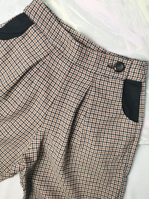 Tan Check Peg Leg Trousers - Size 10