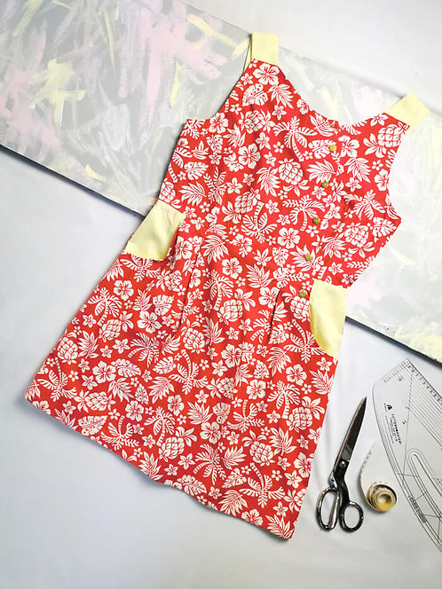 Red Tropical Pinafore Dress -Size 14