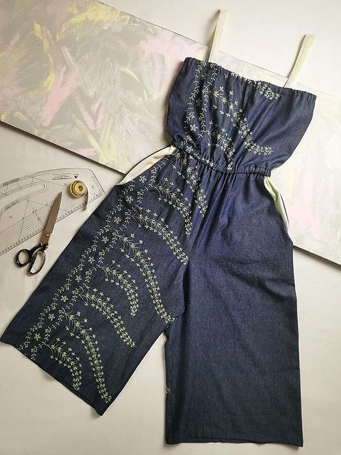 Embroidered Denim Culotte Jumpsuit - Size XS