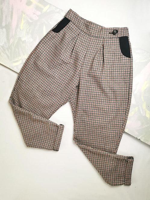 Tan Check Peg Leg Trousers - Size 10