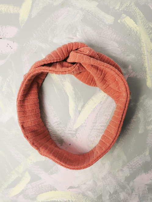 Cosy Knotted Headband - Coral Pink