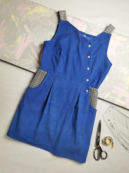 Blue Corduroy Pinafore Dress - Size 14