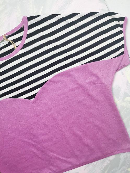 Monochrome Stripe Heart T-Shirt - Size M