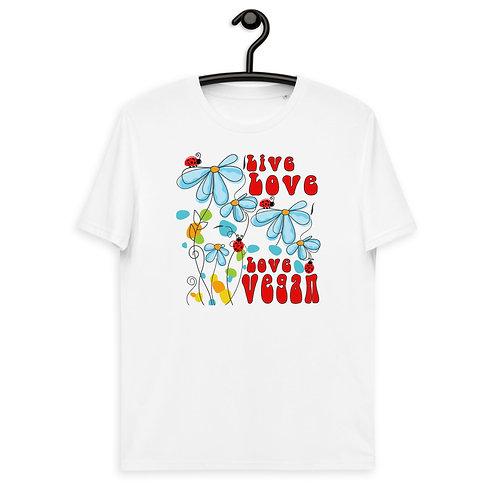Live Love, Love Vegan - Unisex Organic Cotton t-shirt