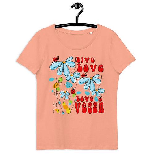 Live Love, Love Vegan - Women's Fitted Eco Tee