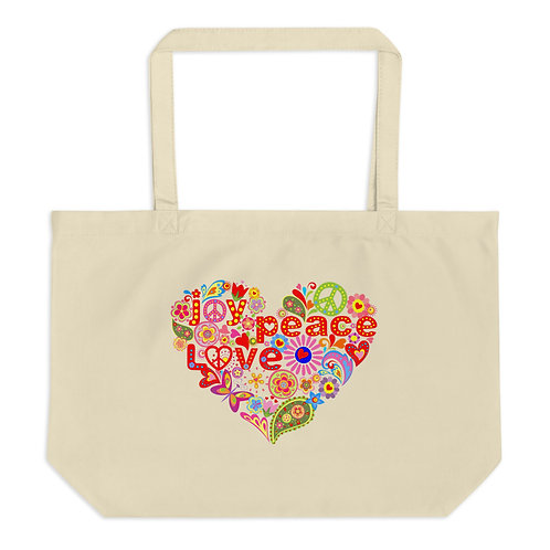 Joy Peace Love - Large Organic Tote Bag