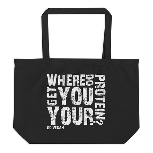 Where do you get your Protein - Large Organic Tote Bag