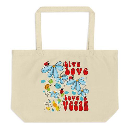 Live Love, Love Vegan - Large Organic Tote Bag