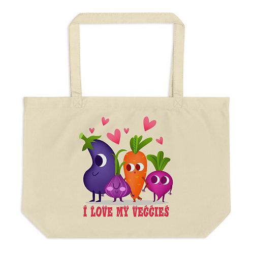 I Love my Veggies - Large Organic Tote Bag
