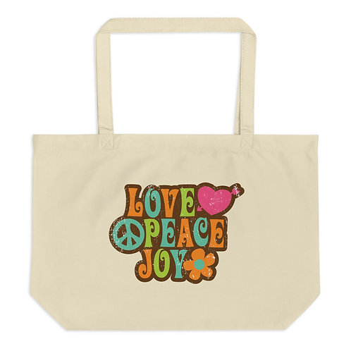 Love Peace Joy - Large Organic Tote Bag