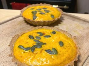Tartelettes potimarron et chèvre - pâte à la farine d'épeautre et pois chiche