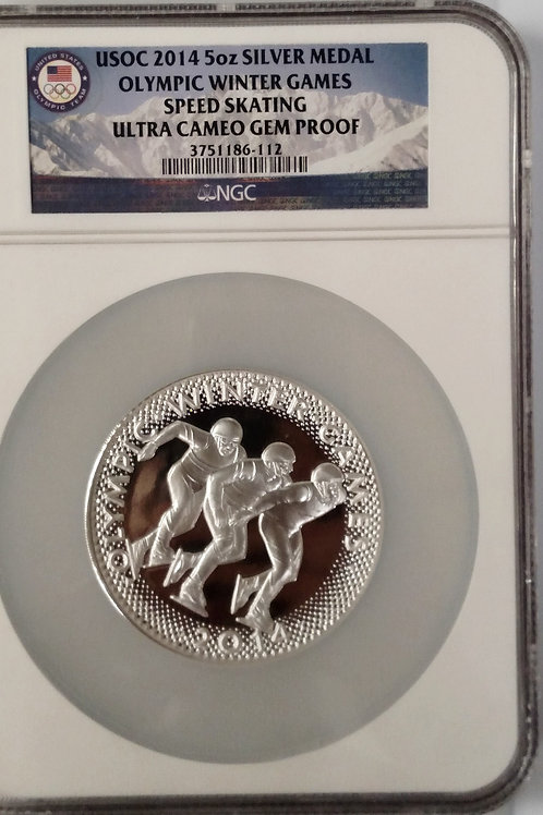 2014 5 oz. Silver USOC Silver Medal Olympic Winter Games Speed Skating Ultra Cam