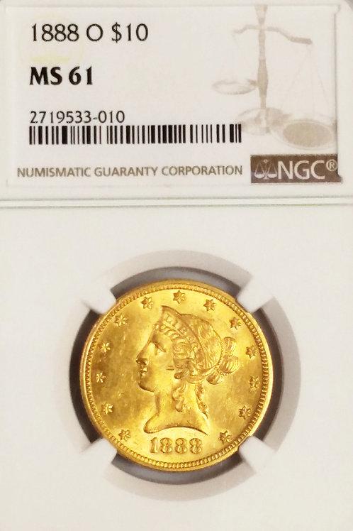 1888 O Coronet Head $10 MS 61