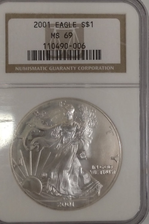 2001 American Eagle One Ounce Silver Proof Coin MS 69