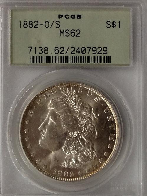 1882 O/S Morgan Silver Dollar MS 62