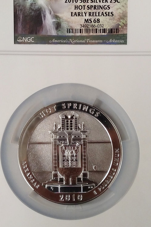 2010 5 oz. Silver 25C Hot Springs Early Releases MS 68