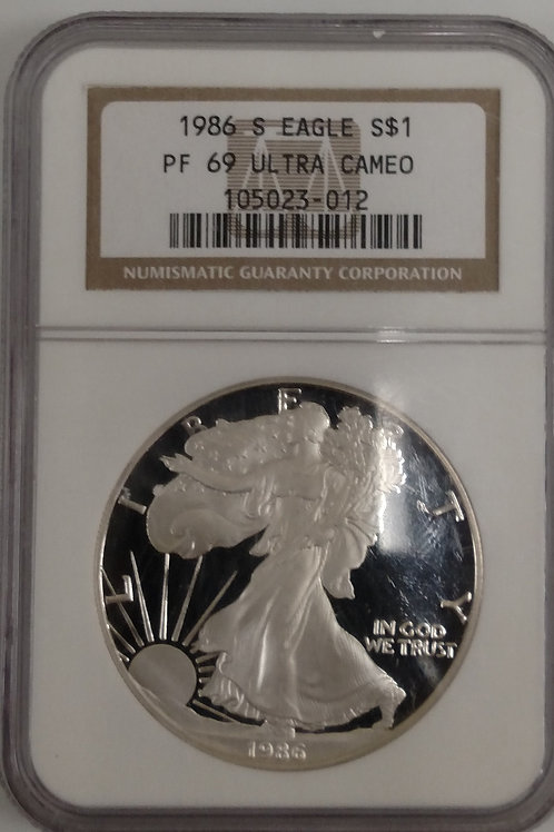 1986 S American Eagle One Ounce Silver Proof Coin PF 69 Ultra Cameo