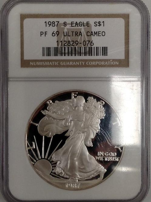 1987 S American Eagle One Ounce Silver Proof Coin PF 69 Ultra Cameo