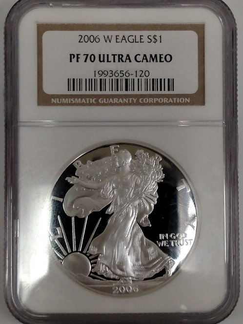 2006 W American Eagle One Ounce Silver Proof Coin PF 70 Ultra Cameo