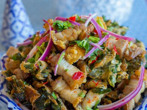 Belly Pork Salad on Fried Kai-lan