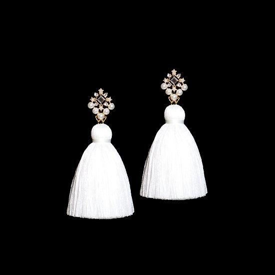EVANGELINE Crystal & Pearl Vintage Tassel Earrings