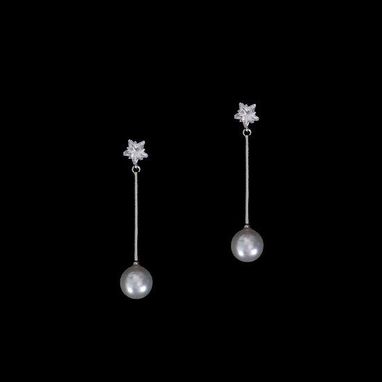 STARLENE GRANDEUR Zircon & Swarovski Crystal Pearl Drop Earrings