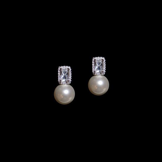 HARRIET Sterling Silver Zircon & Swarovski Crysal Pearl Drop Earrings