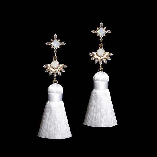 ALBERTA Opal Vintage Tassel Earrings