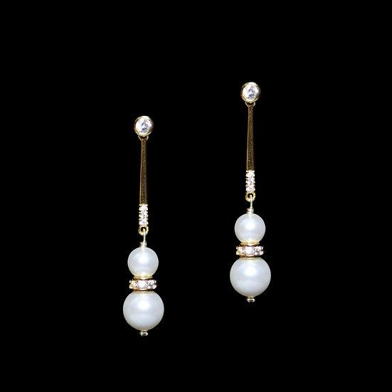 BODHI GOLD Zircon & Swarovski Crystal Pearl Drop Earrings