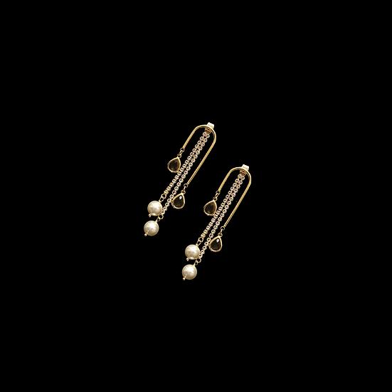 RLIEY 2in1 Zircon & Swarovski Crystal Pearl Drop Earrings