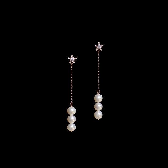 LESATH S925 Rose Gold Zircon & Freshwater Pearl Drop Earrings