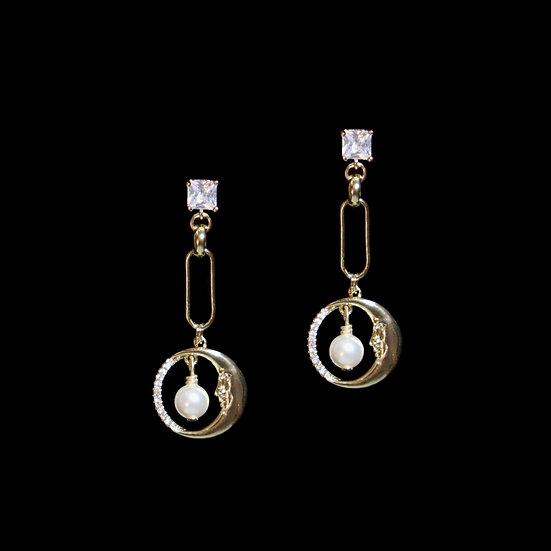 CALISTA GOLD Zircon & Swarovski Crystal Pearl Drop Earrings