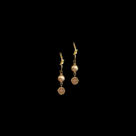 ALVA Zircon & Swarovski Crysal Pearl Hoop Earrings