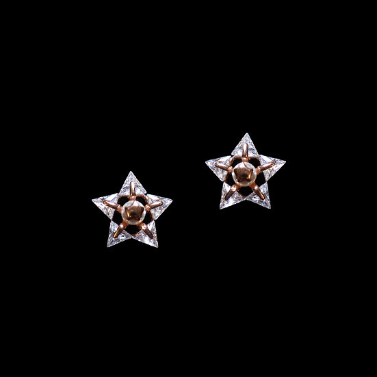 MORRISSY S925 Rose Gold Zircon & Sawrovski Crystal Pearl Earrings