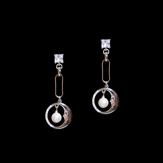 CALISTA SILVER Zircon & Swarovski Crystal Pearl Drop Earrings