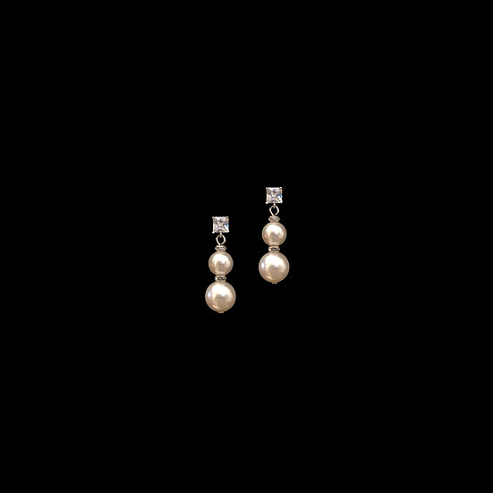 BEULAH GRANDEUR Zircon & Swarovski Crystal Pearl Drop Earrings