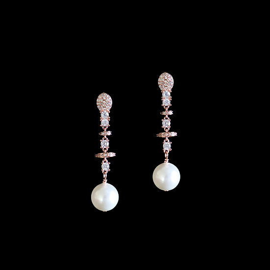 DIANA 24K Rose Gold Plating Zircon & Swarovski Crystal Pearl Drop Earrings