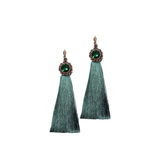 HAZEL Crystal Vintage Tassel Hoop Earrings