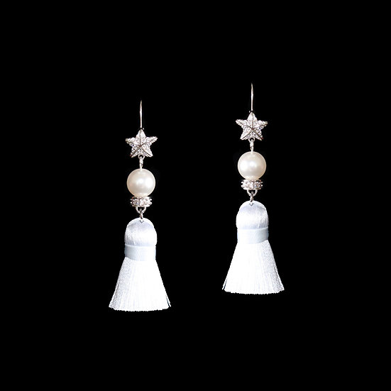 MYKHAILA Sterling Silver  Zircon & Swarvoski Crystal Pearl Tassel Hoop Earrings