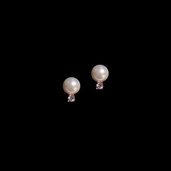 LINDA S925 Rose Gold Zircon & Swarovski Crystal Pearl Earrings