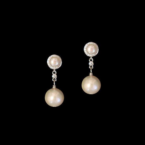 MAKENZIE KYA Zircon & Freshwater Pearl Drop Earrings