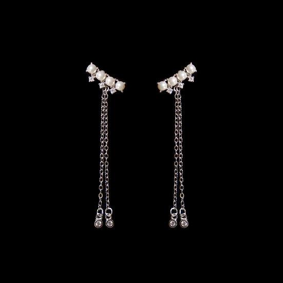 LILLIAN Zircon & Swarovski Crystal Pearl Two Way Earrings