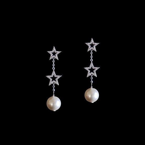 ASTRAEA GRANDEUR S925 Zircon & Swarovski Crystal Pearl Drop Earrings