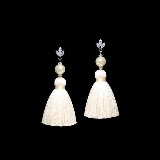 NINA Zircon & Swarovski Crystal Pearl Tassel Earrings