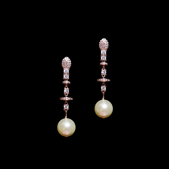 DIANA 24K Rose Gold Plating Zircon & Swarovski Crystal Pearl Drop Earrings