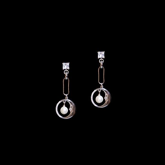 CALISTA SILVER Zircon & Swarovski Crystal Pearl Drop Earrings
