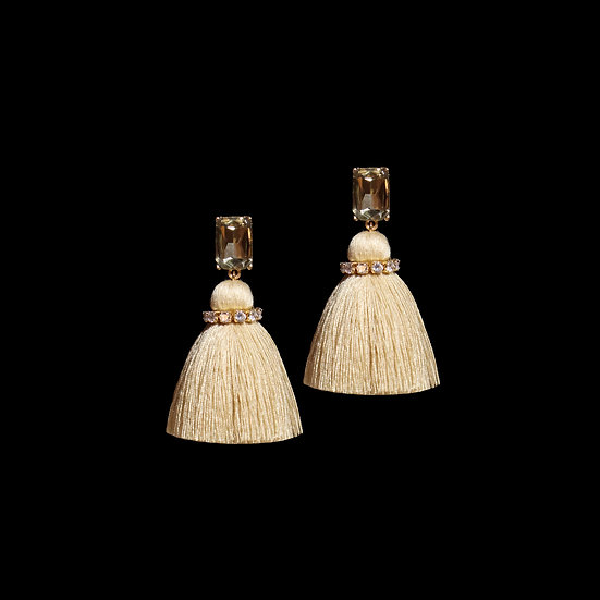 MARTINA GRANDEUR Zircon Tassel Earrings